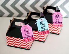 """Favor Boxes: """"Black gable boxes from Nashville Wraps were embellished with chevron printed paper, and we added the 'thanks for being sweet' favor hangtag,"""" Maureen says. """"This would be perfect for classroom parties, Valentine's Day parties at home, or just a treat for a friend or neighbor.  Source: Anders Ruff"""