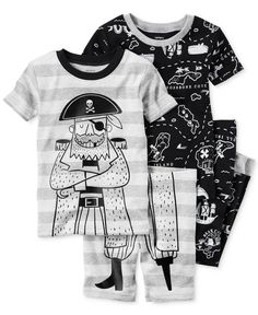 Dress your little explorer for dreamland adventures with this charming four-piece pirate-themed pajama set. | Cotton | Machine washable | Imported | Tops: contrast crew neck; allover treasure map prin