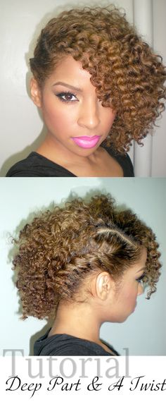 """Pretty! This style is IT! Oh my goodness. Pinner writes: """"Beauty By Lee: Hair Tutorial: Deep Part and a Twist out"""""""
