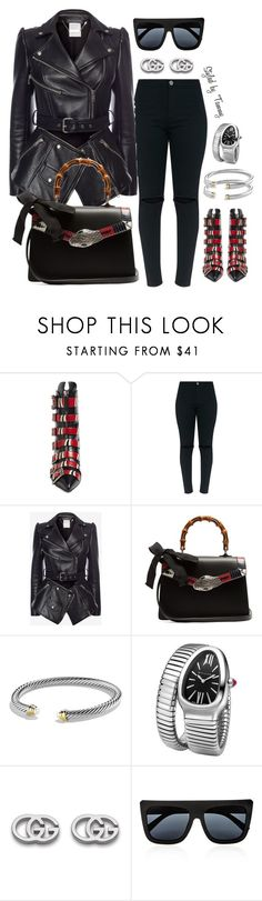 """Untitled #208"" by styledbytammy on Polyvore featuring Gucci, Alexander McQueen, David Yurman, Bulgari and Quay"