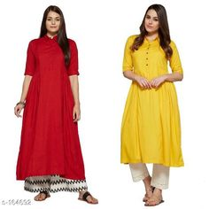 Kurtis & Kurtas Elegant Viscose Anarkali Combo Fabric: Viscose Sleeves: 3/4th Sleeves Are Included Size:  XS, S, M, L, XL, XXL, 3XL,4XL ( Refer Size Chart For Details ) Type: Stitched Collar Type: Classic Collar Description: It Has 2 Pieces Of Anarkali Pattern: Solid Product Care Instructions: Do Not Bleach It and Wash It Separately In Cold Water. Sizes Available: XS, S, M, L, XL, XXL, XXXL, 4XL   Catalog Rating: ★4.1 (333)  Catalog Name: Solid Colored Kurtis Combo CatalogID_16512 C74-SC1001 Code: 999-164692-