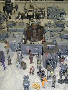 city Star Wars Action Figures, Custom Action Figures, Lego Display, Action Figure Display, Star Wars Models, Geek Gadgets, Toy Rooms, Star Wars Toys, Star Wars Collection