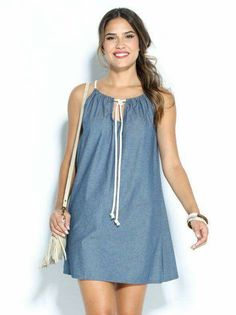 Vestido corto vaquero sin mangas Source by rebekahowlader Simple Dresses, Cute Dresses, Summer Dresses, Outfit Summer, Diy Clothes, Clothes For Women, Mode Jeans, Urban Dresses, Diy Dress