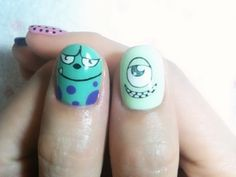 Love it!!!! Monsters Inc/University inspired nails