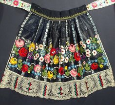 ANTIQUE APRON Moravian hand-embroidered Czech folk costume indigo blue print ART | eBay