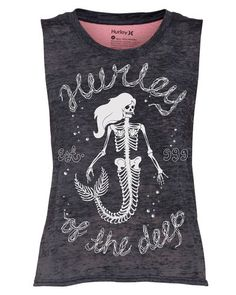 1cf1288dc7ae59 Hurley Of The Deep Womens Biker Tank Top - Seacrl - Size M