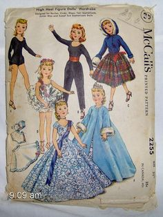 """Vintage McCall's Pattern #2255 High Heel Figure Doll's Wardrobe Size 22""""   1958 Revlon and Sophisticate Dolls by GGsUniques on Etsy"""