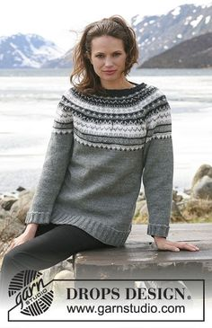 Knitted DROPS jumper with round yoke sleeves and multi coloured pattern in Karisma. Size S - XXXL Free pattern by DROPS Design. Knitting Patterns Free, Knit Patterns, Free Knitting, Color Patterns, Free Pattern, Rowan Felted Tweed, Intarsia Knitting, Fair Isle Pattern, Drops Design
