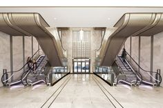 Sixteen bronze escalators now feature in the entrance hall of London department store Harrods, as shown in this exclusive movie produced by Dezeen for Make.
