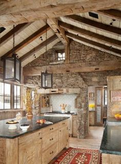 Kitchen with stone accent wall