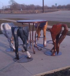 Horse behind chairs