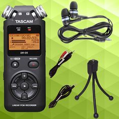 Tascam DR-05 wit essential cables & earbuds bundle. Buy it here: http://www.sonicsense.com/tascam-dr-05-portable-handheld-digital-recorder-bundle-ear-buds-stereo-3-5mm-cable-stereo-rca-to-3-5mm-cable-mini-tripod.html