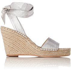 Loeffler Randall Women's Harper Espadrille Wedge Sandals Siz ($295) ❤ liked on Polyvore featuring shoes, sandals, heels and boots, colorless, leather sandals, leather wedge sandals, open toe wedge sandals, ankle tie sandals and woven leather sandals