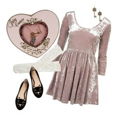 """""""I've been locked inside your heart-shaped box..."""" by venusinvelvet ❤ liked on Polyvore featuring Trasparenze, Juicy Couture, Charlotte Olympia, Hannah Makes Things, vintage inspired and kinderwhore"""