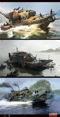 ArtStation Skull Island concept art part 2 Ignacio Bazan Lazcano Apocalypse World, Apocalypse Art, Apocalypse Survival, Fallout Concept Art, Fallout Art, Arte Sci Fi, Sci Fi Art, Post Apocalyptic Art, Gato Anime