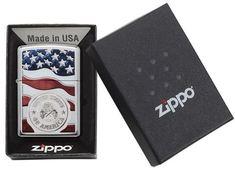 29395- Zippo American Stamp on Flag Lighter, Color Image/Auto Engrave Imprint Method, High Polish Chrome Finish, Classic Case