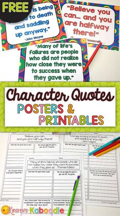FREE! Are you a teacher who wants your students to deepen their connections, reflections, and understanding to character traits and growth mindset? These FREE character quotes posters and printables are the perfect segue to meaningful class discussions a