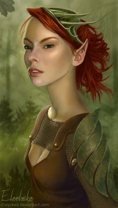 The elf girl was painted in PS CS using a photo reference [link] One hairbrush from =TammySue was added though, - and my own brushes were used for the b. Elf Characters, Dungeons And Dragons Characters, Fantasy Characters, Fantasy Portraits, Character Portraits, Character Art, Elf Druid, Pathfinder Character, Elf Art