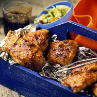 Sesame Ginger Barbecued Chicken - Use the Asian-style barbecue sauce while grilling, reserving a bit to heat up and serve with the cooked chicken. Grilled Beef, Grilled Chicken Recipes, Healthy Grilling Recipes, Cooking Recipes, Grill Recipes, Entree Recipes, Recipes Dinner, Healthy Meals, Yummy Recipes