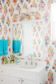 "Flat Vernacular ""Flora - Soft Focus"" wallpaper   Andrew Howard Interior Design"