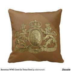 Bavarian WWI Crest In Treue Fest Pillows