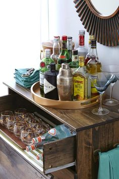 Round or square whisky tray for the kitchen, and afterwards for the cabinet~