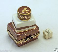 FRENCH LIMOGES BOX GIFT TOWER W CHOCOLATE & IVORY GIFT BOXES.