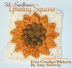 Sunflower Crochet Granny Square (see the authors comments for some suggested changes in material an yarn weight to really take this great design to the next level)