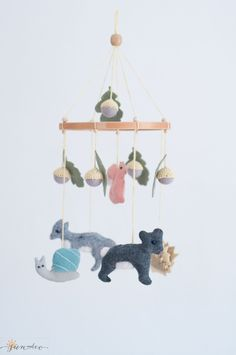 Custom Woodland Baby mobile-Forest mobile-Woodland nursery decor-Wool Felt Mobile-Little Wood creatures-Nature Wood Mobile-Pastel colors by SUNandCo on Etsy