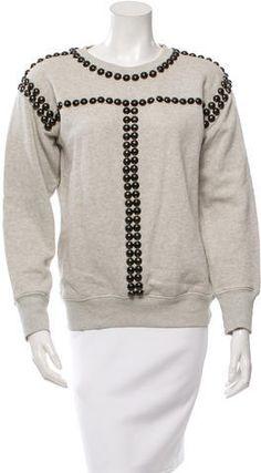 Isabel Marant Studded Crew Neck Sweatshirt Grey Sweatshirt, Crew Neck Sweatshirt, Hoodies, Sweatshirts, Isabel Marant, Rib Knit, Stylish, Sweaters, Tops