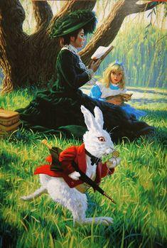 'Alice in Wonderland' illustration by Greg Hildebrandt Lewis Carroll, Alicia Wonderland, Adventures In Wonderland, Alice In Wonderland Illustrations, Alice Madness, Disney Fairies, Were All Mad Here, Fairytale Art, Through The Looking Glass