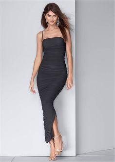 Ruched Bodycon Side Slit Maxi Dress,Acid Wash Denim Jacket,Embellished Heels Side Slit Maxi Dress, Bodycon Dress, Acid Wash Denim Jacket, Formal Dress Shops, Mix And Match Bikini, Everyday Dresses, Latest Fashion For Women, Womens Fashion, Ruched Dress