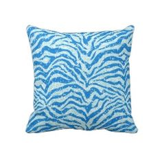 Blue Glitter Print Zebra Stripe Pattern Pillow