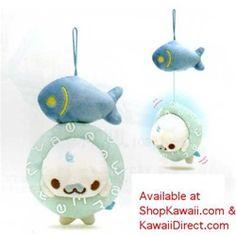 """San-X Mamegoma Baby 6"""" Buru Buru Moving Plush Set: Fish"""