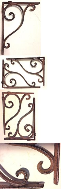"""2 Ornate Rustic Cast Iron Brackets Braces with Scrolls Doorway Accent 9.25 x 6/"""""""