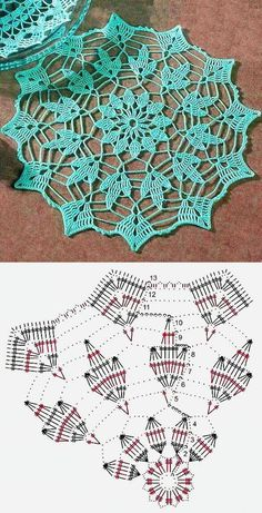 Crochet doilies 20 free patterns / 20 patterns for knitting a napkin . - MonikaCrochet doilies 20 free patterns / 20 patterns for knitting a napkin . Motif Mandala Crochet, Crochet Doily Diagram, Crochet Circles, Crochet Doily Patterns, Crochet Chart, Thread Crochet, Crochet Designs, Crochet Stitches, Tatting Patterns