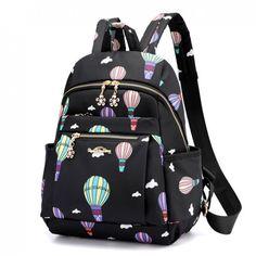 Cute Cartoon Hot Air Balloon Oxford Nylon School Bag S. Cute Cartoon Hot Air Balloon Oxford Nylon School Bag Student Backpack just… - Cute Backpacks For School, Stylish Backpacks, Cool Backpacks, College Backpacks, School Bags For Girls, Girls Bags, Cute School Bags, Backpack Purse, Fashion Backpack