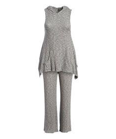 Heather Gray Sleeveless Hooded Tunic & Sweatpants - Plus #zulily #zulilyfinds