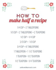 How to Make Half a Recipe - Yellow Bliss Road