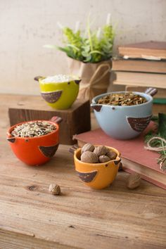 "set of 4 ceramic bird chef prep bowls from At West End.com; largest is 4"" x 5.5"" x 3""t"