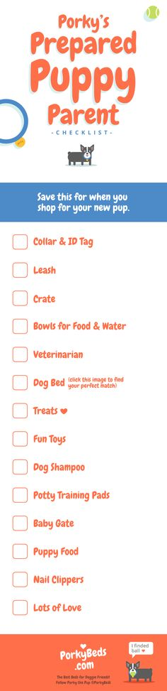Here is a checklist of important items for new puppy parents to remember! Save this for when you shop for your new pup! Find your perfect doggie bed match at www.porkybeds.com, or see more of Porky and his shenanigans on Instagram: @PorkyBeds, on Twitter: @PorkyBeds, on Facebook: www.facebook.com/PorkyBeds, or on our website, www.porkybeds.com.