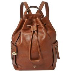Fossil 'Vickery - Large' Drawstring Leather Backpack ($228) ❤ liked on Polyvore featuring bags, backpacks, purses, brown, leather knapsack, leather rucksack, genuine leather backpack, backpacks bags and drawstring bag