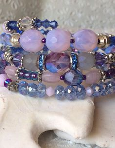 Fabulous feminine and flirty bead and crystal wrap memory wire bracelet on Etsy, $30.00