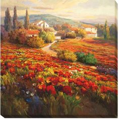 Roberto Lombardi 'Poppy Fields' Canvas Art   Overstock.com Shopping - The Best Deals on Gallery Wrapped Canvas