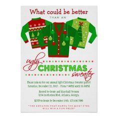 Ugly Christmas Sweater Holiday Party Custom Invite Xmas