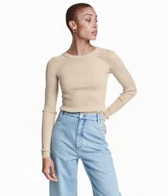 Fitted top in ribbed jersey with long sleeves. | H&M Pastels