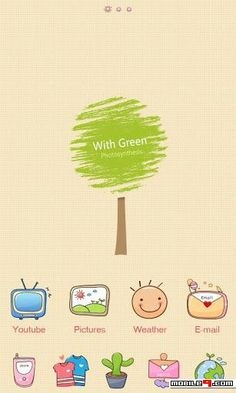 Lovely green tree GO Launcher Theme - Free download at mobile9 >> http://m9.my/go/p13