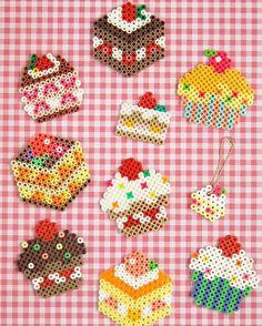 So,sweet!  Which one do you like?  #perlerbeads #パーラービーズ #おもちゃ #カラフル #楽しすぎる #対象年齢5歳以上 #ケーキ #yummy #cake #pink#ginghamcheck