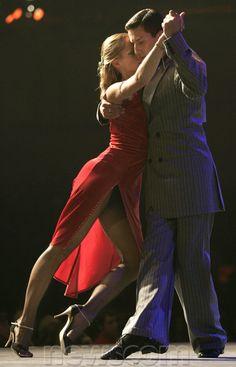 Daria Nikolaeva and Andrey Panferov, a couple from Russia, dance a tango