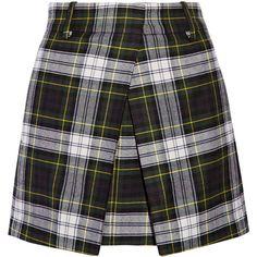 McQ Alexander McQueen Plaid wool mini skirt (9.510 RUB) ❤ liked on Polyvore featuring skirts, mini skirts, bottoms, dark green, wrap mini skirt, short pleated skirt, wool skirt, short skirts and plaid skirt